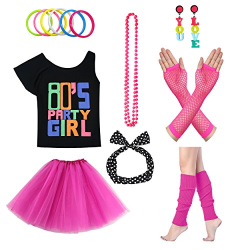 Xianhan 1980s Outfit 80's Party Girl Retro Costume Accessories Outfit Dress for 1980s Theme Party Supplies (S/M, Hot (Rocker Costume For Kids)