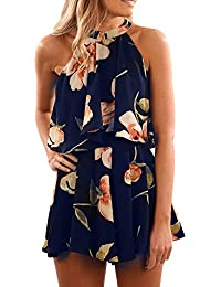 Pxmoda Women's Floral Print High Neck Pleated Romper...