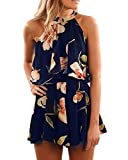Pxmoda Women's Floral Print High Neck Pleated Romper Dress Overlay Jumpsuit