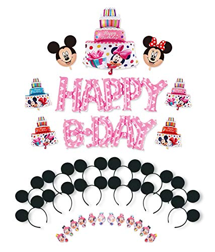Finex Mickey Mouse Minnie Mouse Birthday Party Decoration Supplies Set for Girl Pink - 12 Set Fabric Ear Headband & Blowout + 9 pcs Happy Birthday Letter Balloons for Kids ()