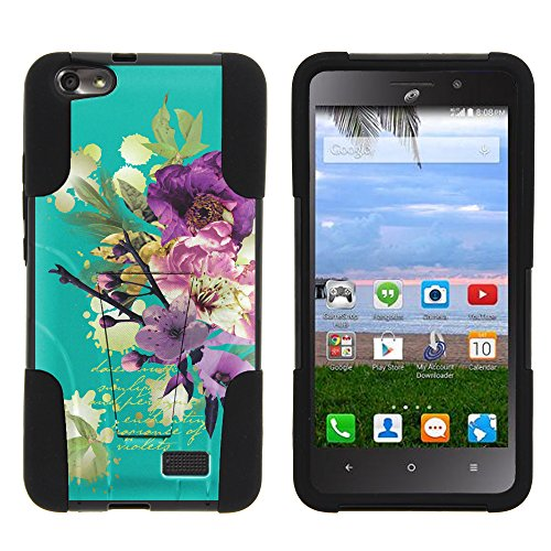 MINITURTLE Case Compatible w/Huawei Raven Phone Case, Silicone Gel and PC Combination Strike Impact Stand Case w/Dazzling Designs for Huawei Raven LTE Painted Flowers
