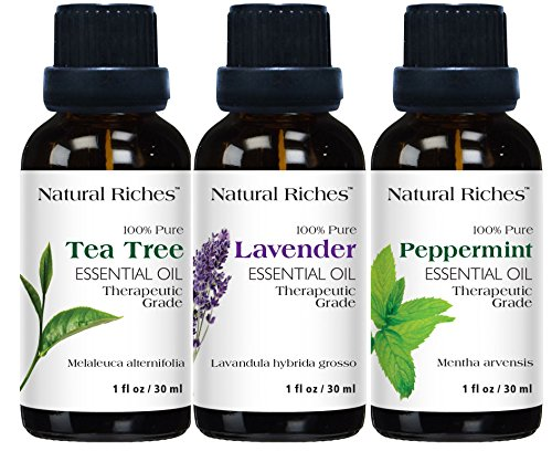 French Lavender Essential Mist - Three oils set Lavender Essential Oils for Aromatherapy with French Lavender, Peppermint essential oil, Tea tree essential oil, Essential oils gift set 3 Pack set 3 x 30 ml