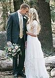 PearlBridal Womens Modest Lace Bohemian Wedding Dresses 1/2 Sleeves Boho Chiffon Wedding Gowns