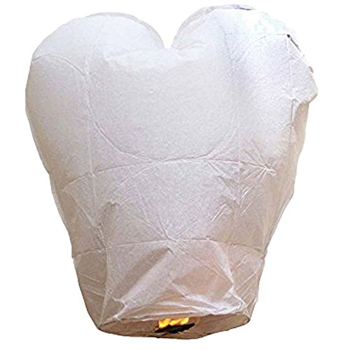 Just Artifacts Premium Quality ECO Wire-Free Flying Chinese Sky Lanterns (Set of 10, Heart, White) - Topnotch Flight, 100% Biodegradable, Environmentally Friendly Lanterns! ()