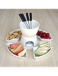 Access 11 pcs in set Ceramic Chocolate Cheese Personal Fondue serving Set 4 Forks 5 Plates 1 candle DIY fondue Pot White... discount