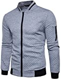WHATLEES Mens Casual Soft Lightweight Zip up Baseball Collar Bomber Jacket with Diamond Plaid Light Gray Large