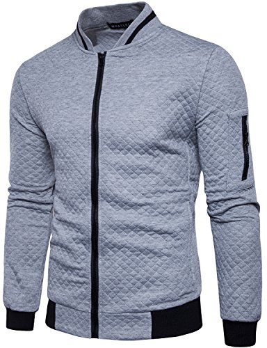 WHATLEES Mens Casual Soft Lightweight Zip up Baseball Collar Bomber Jacket with Diamond Plaid Light Gray X-Large by WHATLEES