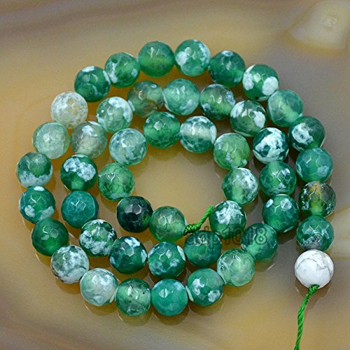 AD Beads Faceted Fire Agate Gemstone Round Loose Beads 15.5