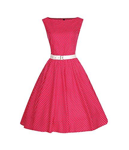 ROBLORA- Vestidode noche de Cóctel 'Audrey' Vestido Vintage Años 50 An5001 rojo.B