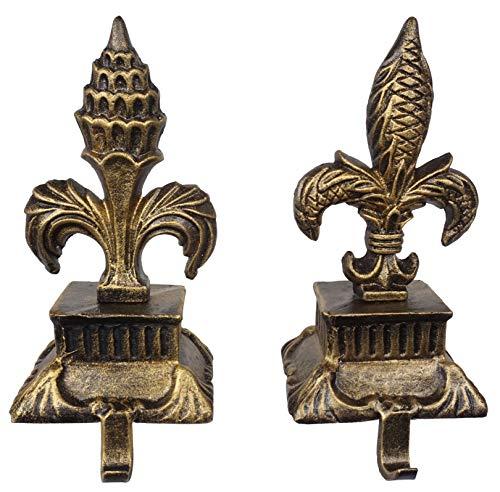 Lulu Decor, Metallic Gold cast Iron Fleur de lis Christmas Stocking Holders, Set of 2 Strong Sturdy Hooks on a Pillar Like Base, Sophisticated Hooks, Beautiful Mantel Decoration (2 Piece Set)
