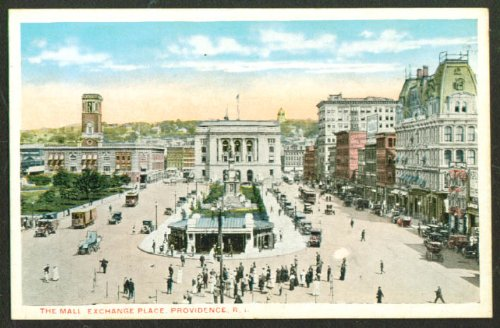 (The Mall Exchange Place Providence RI postcard 1910s)