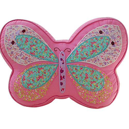 Willcome Kids Butterfly Shape Bed Embroidery Pillow Sofa Cushion Pink Quilted Throw Pillow with Core for Bedroom Decor (Bolster Quilted)