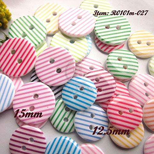 - Maslin 250pcs 15mm / 12.5mm 2 Holes Mix Colors Stripe Resin Sewing Buttons for Craft Scrapbooking Sewing Supplies Wholesale - (Size: 15mm)