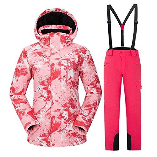 Luxfan Women&Men Colorful Print Hooded Snow Jacket Coat Windproof Waterproof Skiing Jacket Suit – DiZiSports Store