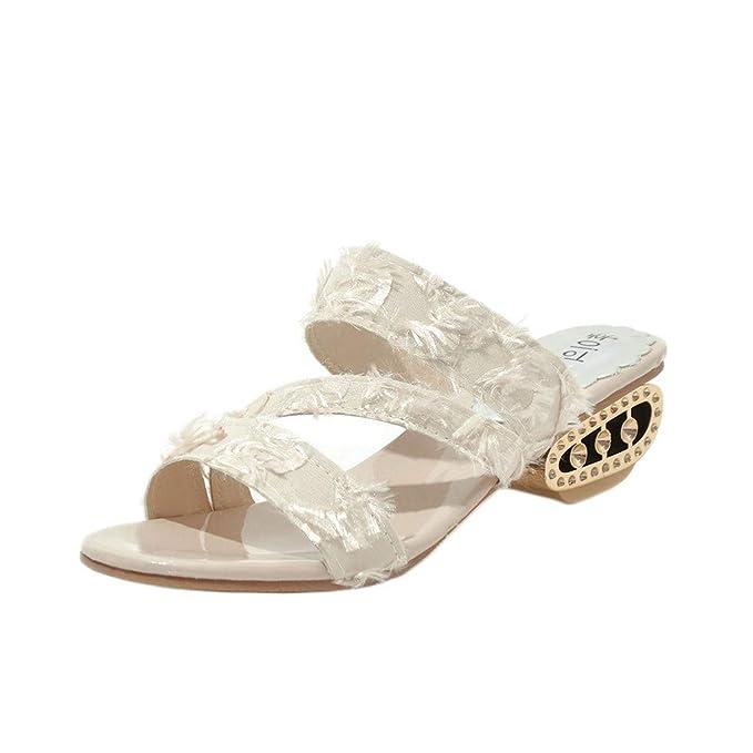 FELZ Zapatillas Sandalias para Mujer Zapatos Casuales para Mujer Zapatos de tacón Medio Zapatos al Aire Libre Zapatillas: Amazon.es: Ropa y accesorios