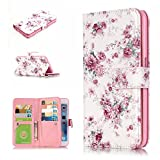 iPhone 7 Flip Case, iPhone 7 Wallet Cover, GreenDimension Slim Relief Floral Peony Pattern Folio PU Leather Magnet Stand Scratch Resistant [Soft Silicone Bumper] Cover with Photo Holder 9 Card Slots
