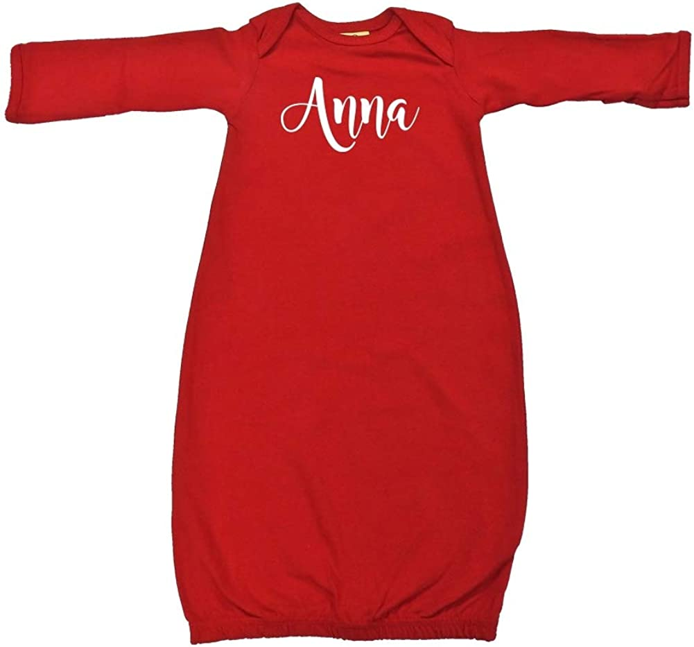 Personalized Name Baby Cotton Sleeper Gown Mashed Clothing Anna