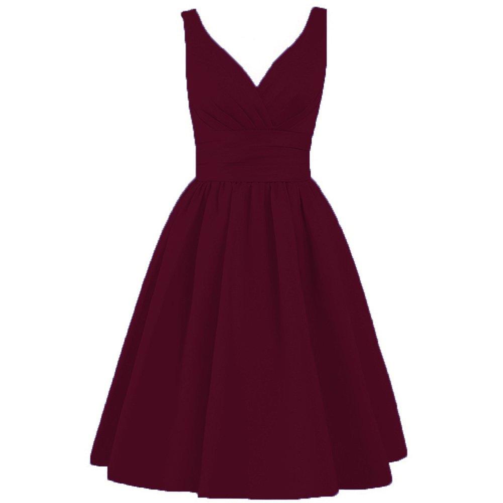 Burgundy CiONE Short Evening Dress Satin Homecoming Dress Aline Formal Dress for Juniors
