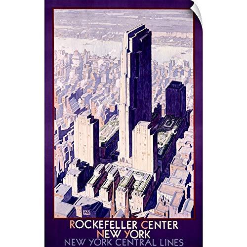 CANVAS ON DEMAND Wall Peel Wall Art Print Entitled Rockafeller Center New York, New York Central Lines,Vintage Poster 12