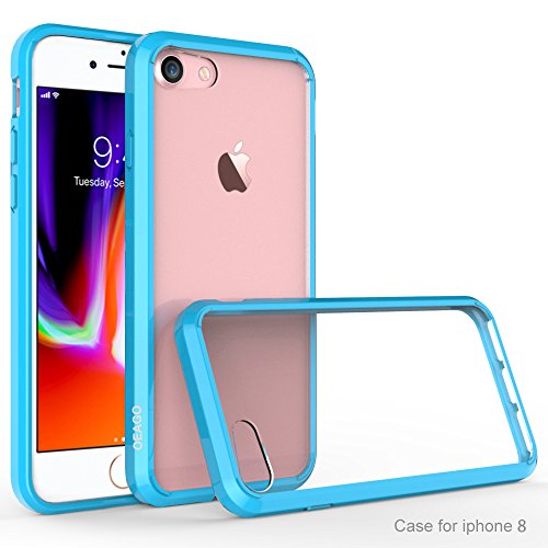iPhone 8 Case, iPhone 7 Bumper, OEAGO [Ultra Scratch Resistant] [Hybrid Bumper Series] Shockproof Impact Resistance Case and Clear Hard Back Panel for Apple iPhone 8 / iPhone 7 - (Blue Back Case)