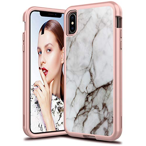 LEAPTECH Hybrid iPhone Xs Max Case, Marble Pattern 3 in 1 Heavy Duty Shockproof Fit TPU and Hard PC Protective Armor Phone Case Cover Compatible for iPhone Xs Max (2018) 6.5 inch (Off-White)