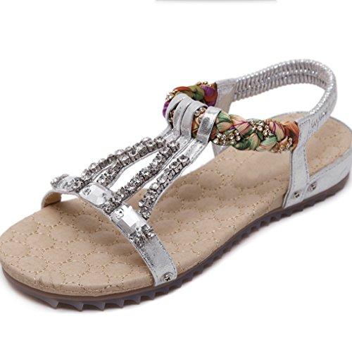 Sandales Sandales Plat Mode Casual Toe Pieds Pantoufles Chaussures Femmes Perles Pantalons Chuck XIAOQI Sandales Sandales Pantoufles Femmes Femmes D'été Argent Strass De 0q6wAv