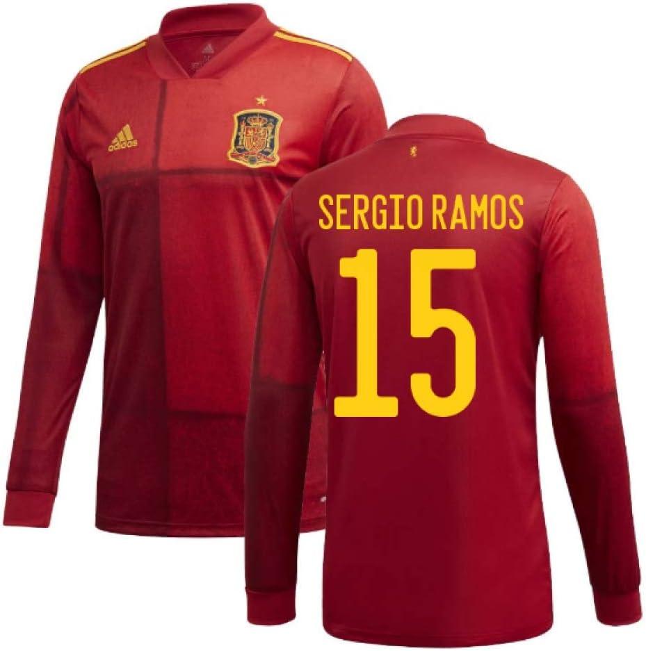 UKSoccershop Adidas 2020-2021 - Camiseta de fútbol de Manga Larga (Sergio Ramos 15), Hombre, Rojo, XXL 46-48
