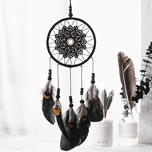 Niceko Handmade Traditional Black Feather Dream Catcher Car Wall Hanging Decoration Ornament Gift (Black)