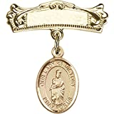 14kt Yellow Gold Baby Badge with Our Lady of Victory Charm and Arched Polished Badge Pin 7/8 X 3/4 inches