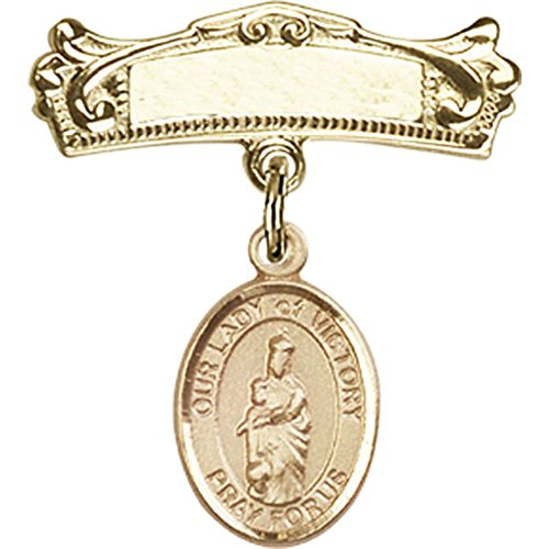 14kt Yellow Gold Baby Badge with Our Lady of Victory Charm and Arched Polished Badge Pin 7/8 X 3/4 inches by Unknown