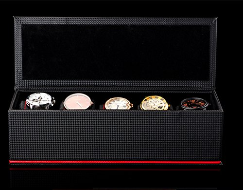 TGDY Watches Jewelry Bracelets Display Collection Storage Boxe Case Solid Wood Advanced PU Black by TGDY (Image #1)