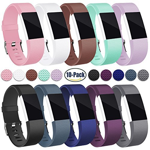 For Fitbit Charge 2 Band, Hotodeal Classic Soft TPU Adjustable Replacement Bands Fitness Sport Strap for Fitbit Charge 2, Pack of 10, Large