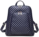 Coolcy New Fashion Women's Genuine Leather Backpack Casual Shoulder Bag (Royal Blue)