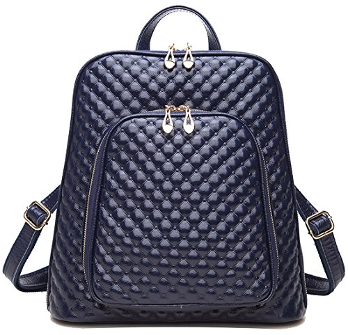 Coolcy New Fashion Women's Genuine Leather Backpack Casual Shoulder Bag (Royal Blue) ()