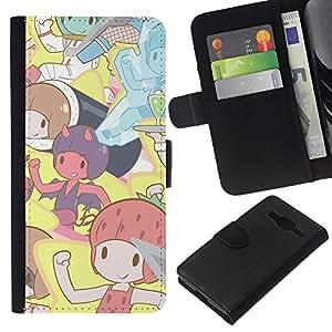 LECELL--Cuero de la tarjeta la carpeta del tirón Smartphone Slots Protección Holder For Samsung Galaxy Core Prime -- Pixies lindos dibujos animados --