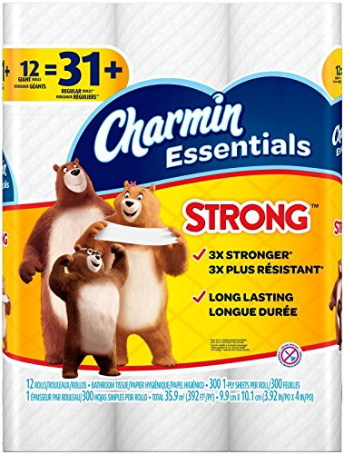 Charmin Essentials Strong Toilet Paper, Bath Tissue, Giant Roll, 12 Count