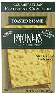Partners Flatbread Style Crackers, Toasted Sesame, 5.8-Ounce Boxes (Pack of 6)