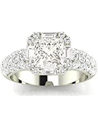 026f21edb 2.3 Ctw 14K White Gold GIA Certified Princess Cut Designer Popular Halo  Style Baguette and Pave · Diamond Manufacturers USA
