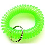 420 Pieces Green Color Stretchable Plastic Bracelet Wrist Coil Wrist band Key Ring Chain Holder Tag