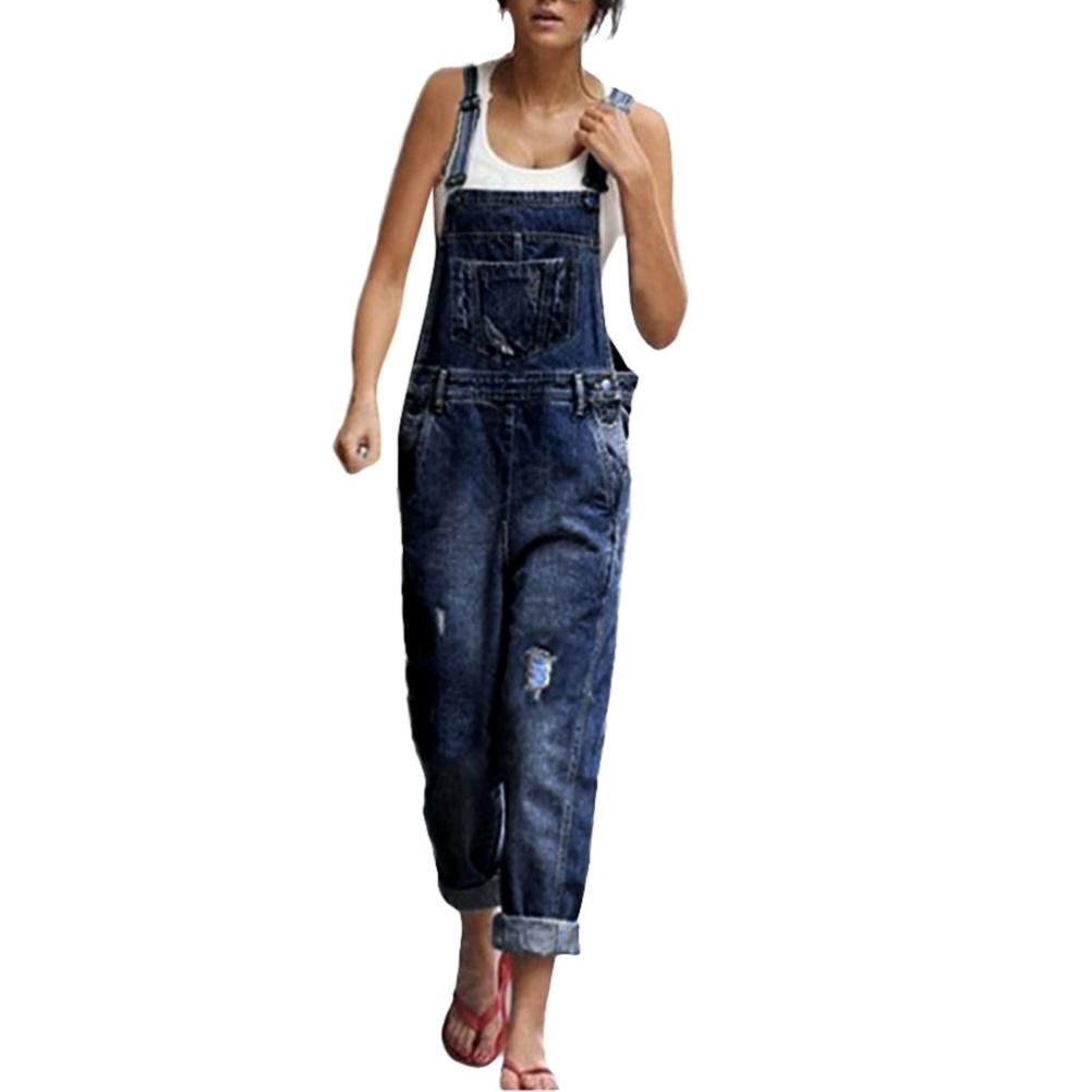 Kingfansion Women Strappy Ripped Stretchy Jumpsuit Cotton Straight Leg Denim Overalls