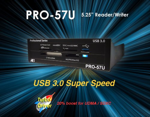 Atech Flash Pro-57U USB 3.0 True SuperSpeed Internal Flash Memory Card Reader w/ Front USB 3.0 Port for 5.25 Inch Drive Bay (Retail) *MUST HAVE USB 3.0 ON ...