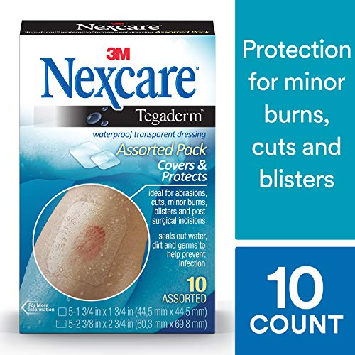 Nexcare Tegaderm Waterproof Transparent Dressing, The #1 Hospital Brand, Wear Up to 7 Days, 10 Count, 2-3/8 Inches X 2-3/4 Inches