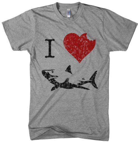 Kids' I Love Sharks T Shirt Classic Youth Shark Bite Shirt Shark Tee (Grey) - Youth Shark T-shirt