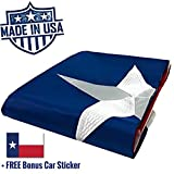 100% US Made Texas Flag 4×6 ft – Embroidered Star, Tough, Long Lasting Nylon Built for Outdoor Use, UV Protected and Sewn Using Quadruple Lock Stitching on Fly End