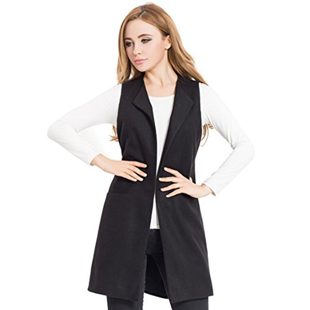 Women Wool Blend Long Vest Jacket Coat Sleeveless Cardigan Comfortable Slim Waistcoat HS-556