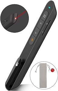 Wireless Presenter with Laser Pointer, Presentation Remote Presentation Clicker for mac, Laser Pointer 2.4GHz USB Powerpoint PPT Clicker Flip Pen for Office Teacher,Support Hyperlink (Black)