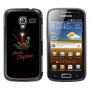 FECELL CITY // Duro Aluminio Pegatina PC Caso decorativo Funda Carcasa de Protección para Samsung Galaxy Ace 2 I8160 Ace II X S7560M // Christmas Winter Holidays Black Candle