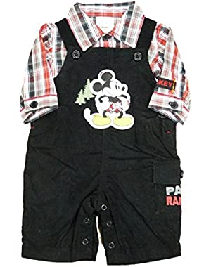 Mickey Mouse Infant Boys Collared Plaid Shirt Corduroy Overalls Set