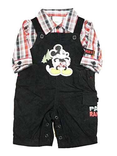 Corduroy Plaid Overalls (Disney Mickey Mouse Infant Boys Collared Plaid Shirt Corduroy Overalls Set NB)