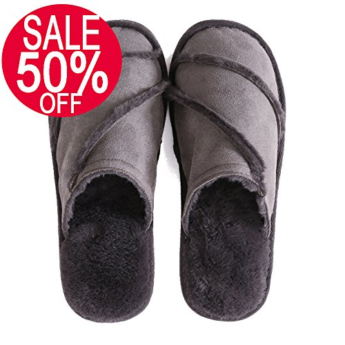FITORY Women's Slippers,Soft Suede Plush Lined Slip On Memory Foam Clog For Indoor House (9-10 B(M) US, Dark Gray)